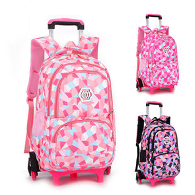 Girl Six Wheel School Bags Orthopedic Primary Backpacks Children Waterproof Schoolbags Lovely Shoulder for Teenager Mochila new style school bags for boys