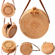 2018 Round Straw Bags Women Summer Rattan Bag Handmade Woven Beach Cross Body Bag Circle Bohemia Handbag Bali
