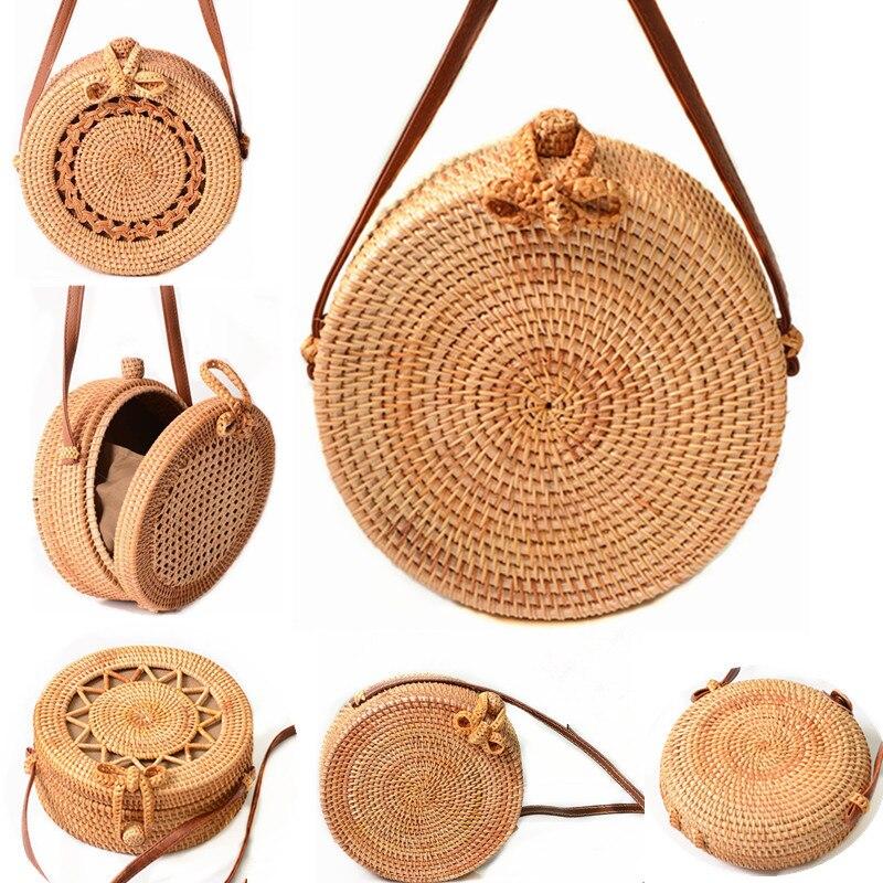 2018 Round Straw Bags Women Summer Rattan Bag Handmade Woven Beach Cross Body Bag Circle Bohemia Handbag Bali