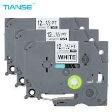 TIANSE 3pcs tze231 tz231 Black on White for Brother P-touch Printer label tape tze-231 tz-231 12mm tz tze 231 laminated ribbons