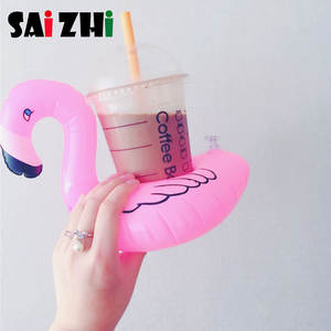 Saizhi 1 Pcs Flamingo Cute Water Drink Cup Holder Inflatable Water Coaster Floating Drink Cup Holder SZ0408