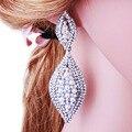 Elegante Imitación de La Perla Pendientes de Gota de la Moda Forma de la Hoja de Cristal para Las Mujeres Partido Prom de La Boda de Accesorios