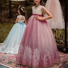 2019 New Baby Kid Girls Lace Princess Dress Flower First Communion for Bridesmaid Wedding Party 2-13Y