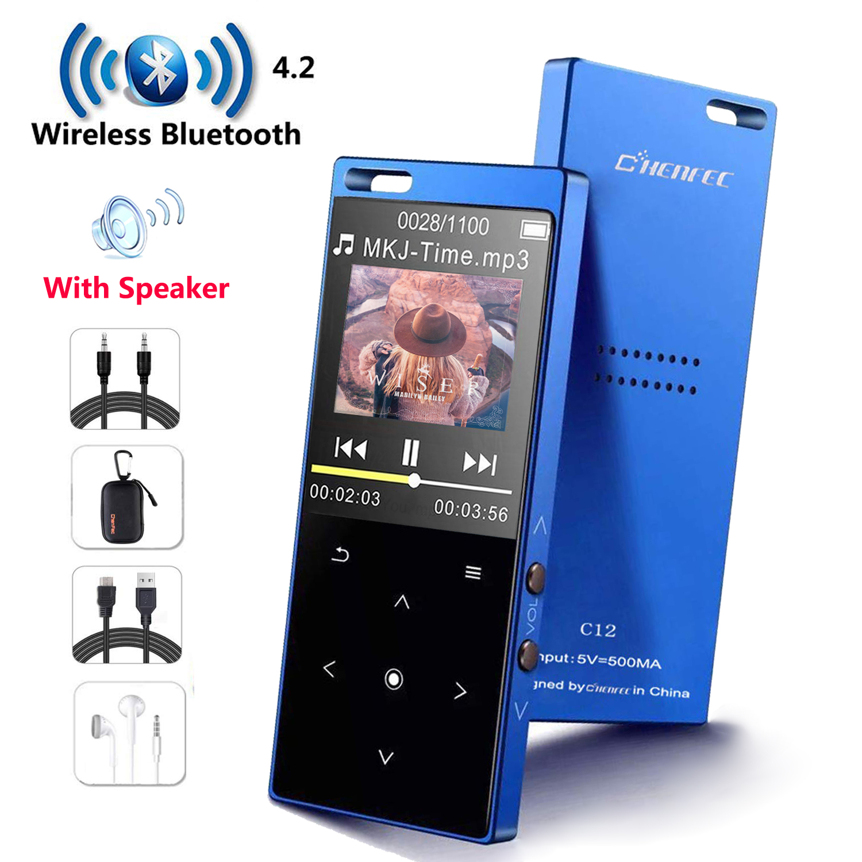MP3 Player com Speaker Metal hifi Leitor de Música Portátil com rádio fm eBook Apoio Walkman esporte oi fi usb, mini cartão SD