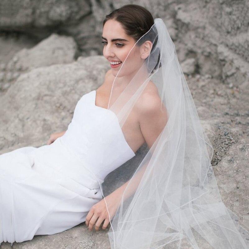 Veu De Noiva Fingertip Chepal Cathedral Wedding Veil Pencil Edge Bridal Veil Soft Veil In White ,ivory Long Veil Wedding