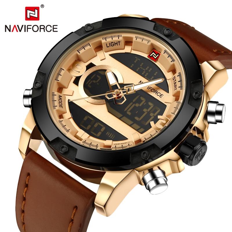 Naviforce Luxury Brand Fashion LED Display Digital Quartz Watch Men Waterproof Sport Watches Men's Leather Military Wrist Watch