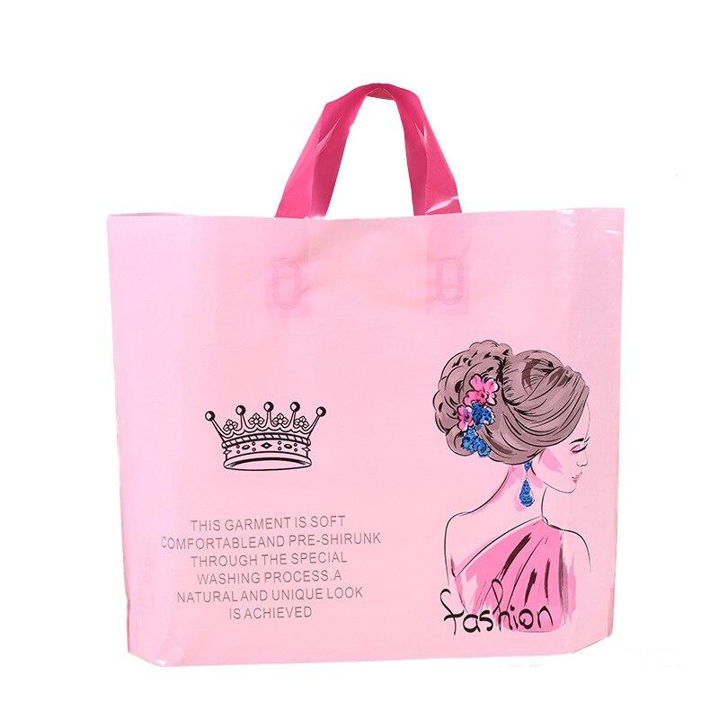 50PCS / LOT Plastic Shopping Bags Girl Print Plastic Gift Bags Handles Thicken Plastic Bags Shopping Hand Packet