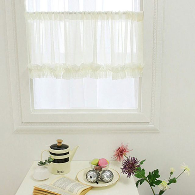 Linen Tulle Short Curtains Solid Voile Pelmet Pleated Panel Folds Modern Kitchen  Curtain Coffee Curtain Dust Proof Decorate FD99