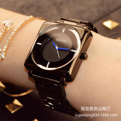 HK קוורץ שעוני יד מותג-שעונים שעונים רוז זהב של נשים בדרגה גבוהה ג 'וקר כיכר רצועת פלדה אל חלד שחורה יוקרה פשוטה