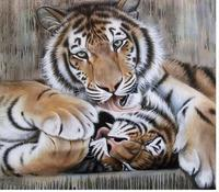 2017 Animals Tiger Hand Painted Acrylic Paint Canvas For Artwork Frameless Diy Oil Painting By Numbers