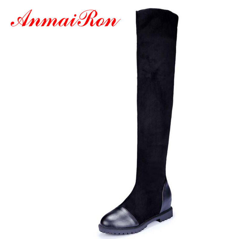 ANMAIRON Keep Warm Soft Leather Over The Knee Boots Fashion Autumn Winter Round Toe Boots Low Heels Black Long Women Boots sale in Over the Knee Boots from Shoes