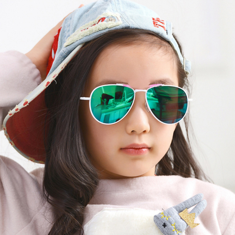Coodaysuft Classic Pilot Kid Sunglasses Children Boys Girls UV400 Metal Temple Mirror Lens Pink Sun Glasses Hot Cheap XF14