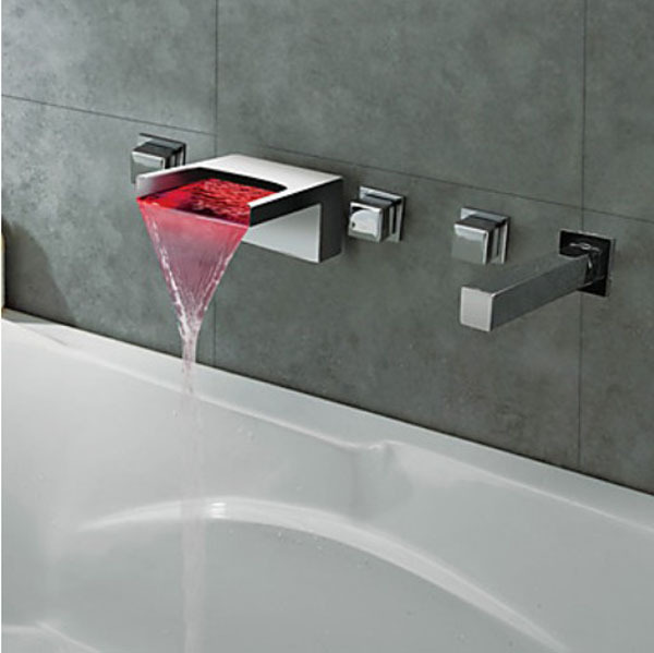 Luxury Chrome Finish LED Changing Color Waterfall Bathroom Tub Faucet Wall Mount