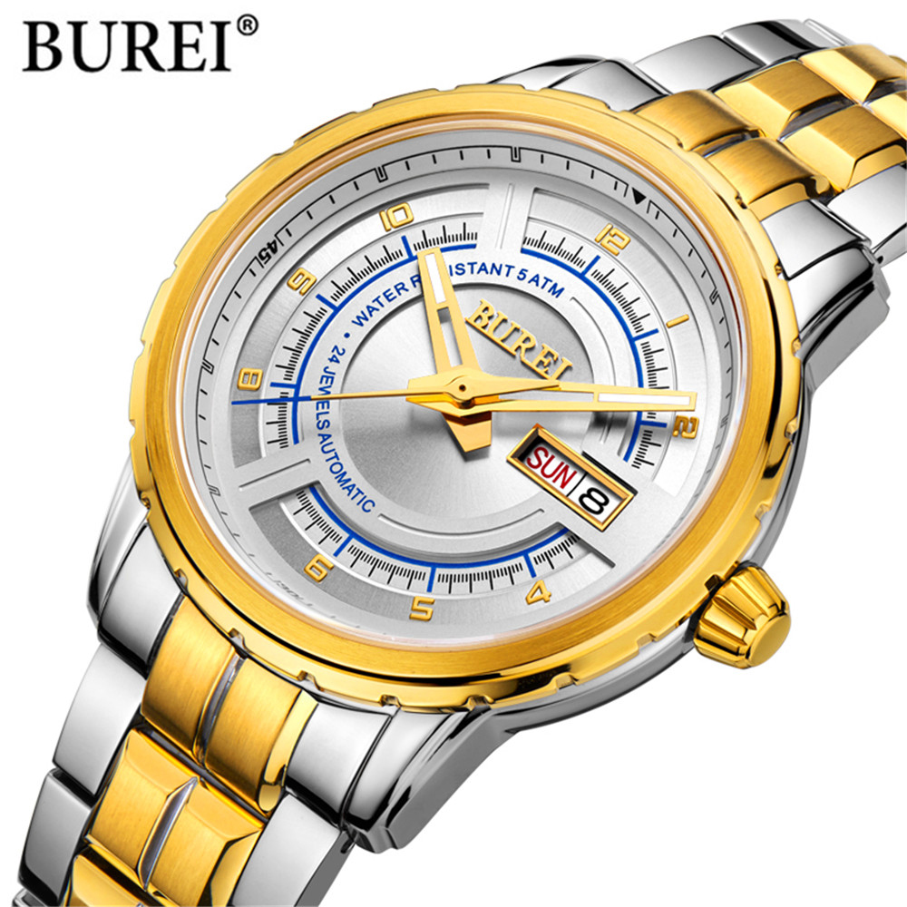2018 New Mechanical Men Watches BUREL Luxury Brand Automatic Wrist Sapphire Waterproof Watch Men Clock Male reloj hombre mens watches top brand luxury mechanical watch men s waterproof military automatic wrist watch clock men hours 2017 reloj hombre
