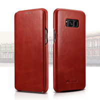 Icarer Curved Edge Vintage Flip Back Cover Cases For Samsung Galaxy S8 S8 Plus Cowhide Leather