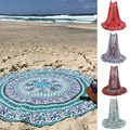 Summer Mandala Roundie Beach Boho Pareo Sarong Wrap Chiffon Shawl Flower Pattern Blanket Beach Towel Tapestry Swimsuit Cover up