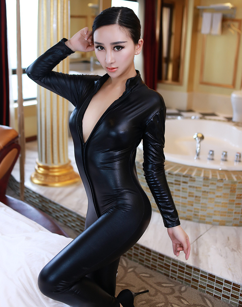 Free Shipping Women Pole Dance Zipper Erotic Clothes Faux Leather Sexy Latex skirt Bodysuit Dress sex outfit 4