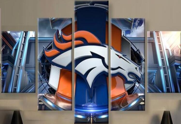 5 Pieces Denver Broncos Logo Wall Art Picture Modern Home Decoration Living Room Or Bedroom Canvas