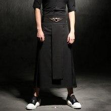 Cintura ajustable casuales de los hombres de falda pantalón Punk hip-hop  Avant Garde hombre de moda Pantalones club nocturno tra. b6cc97e0e17