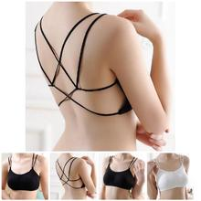 2019 Sexy Droppshiping Women Bra Bralette Crop Top Cotton Lace Unlined Strap Cross Back Underwear Brassiere BFJ55