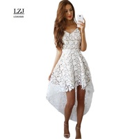 LZJ Sexy Harness Deep V Collar Lace Hollow Perspective Sleeveless Party Dress Ladies Summer Regular Dress