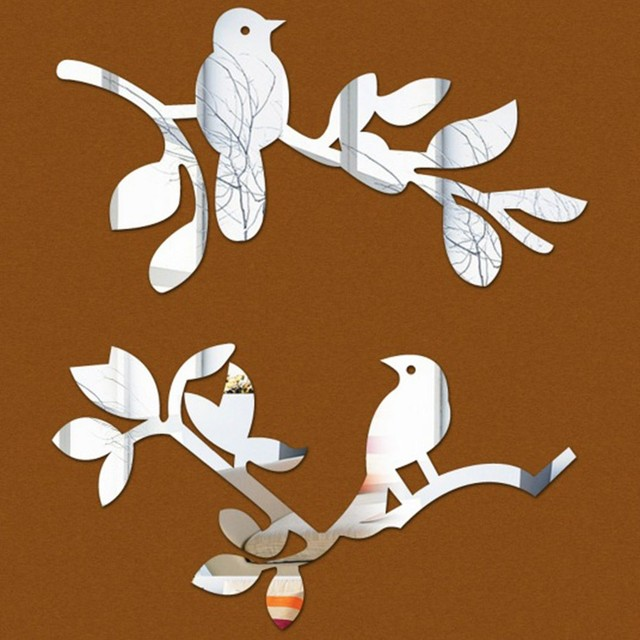 D Acrylic Spring Birds And Branches Of Three Dimensional Crystal - Window decals for bird protection