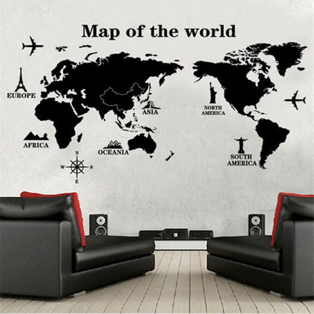 Black Large World Map Wall Sticker Decal 60 120cm Big Vinyl Wall Stickers Home Decor Living Room Removable 3D Art Quotes Poster in Wall Stickers from Home Garden