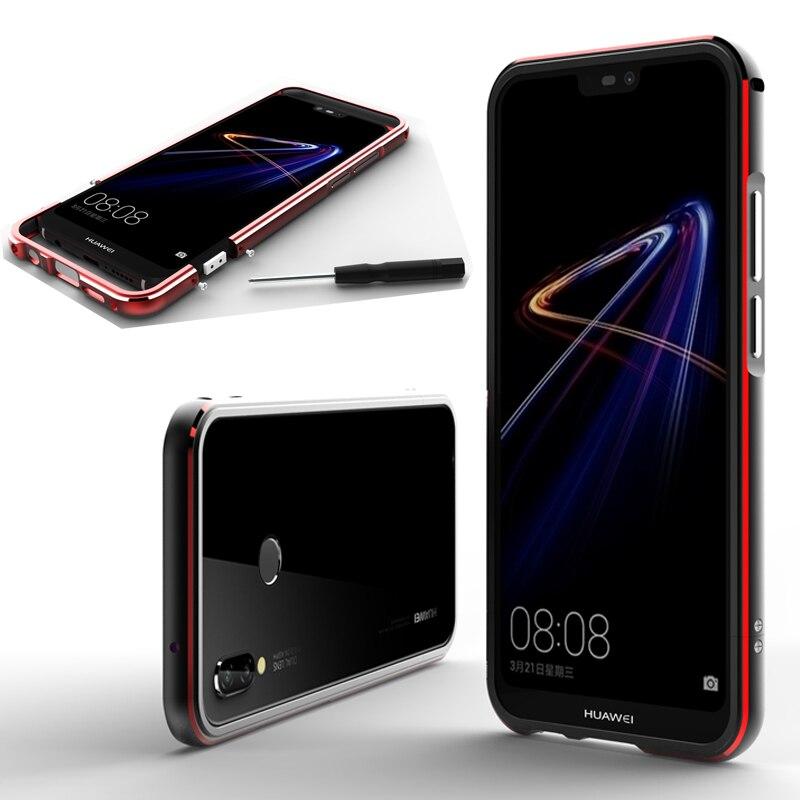 For Huawei Nova 3e Case Aluminum Metal Bumper for P20 Lite Dual color Frame Cover 5.84