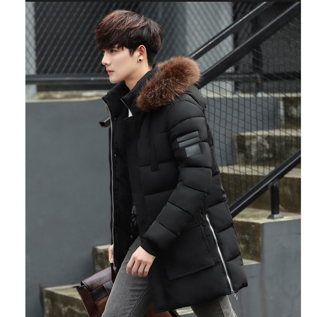 Casual Men Parka Jacket Real Fur Collar Hoodie Winter Warm Coat 2018 Parkas MenS Long Hooded Jacket Overcoat Parka Homme