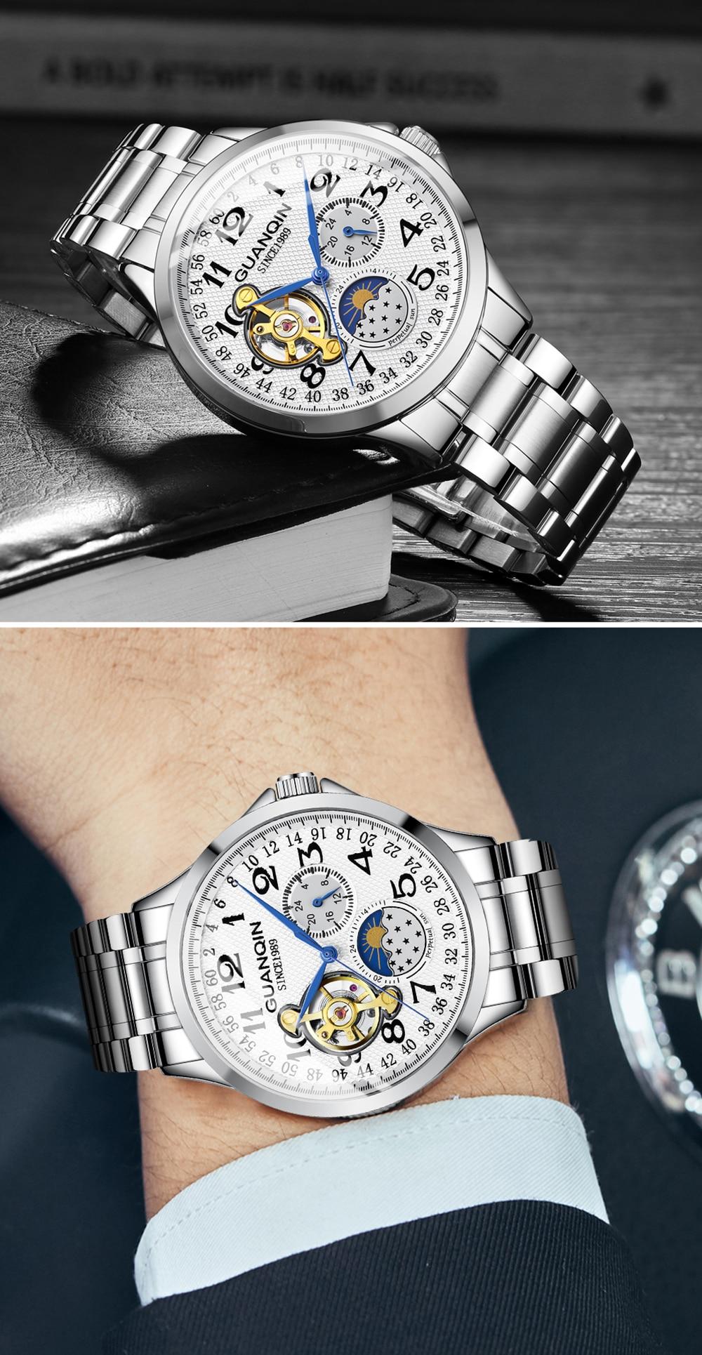 HTB1BlatamSD3KVjSZFKq6z10VXaE 2019 Fashion GUANQIN Mens Watches Top Brand Luxury Skeleton Watch Men Sport Leather Tourbillon Automatic Mechanical Wristwatch