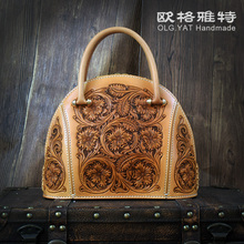 OLG.YAT handmad girls purse vegetable tanned leather-based Hand carving Flowers Arabesque bag Shell model for ladies Waxed stitching
