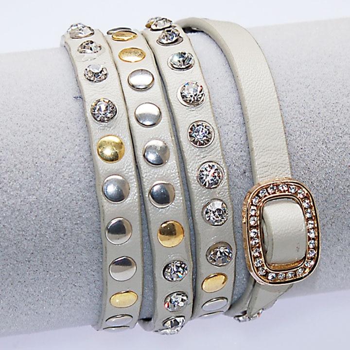 Miasol kristalna in kovinska zakovica PU usnjene zapestnice, - Modni nakit - Fotografija 4