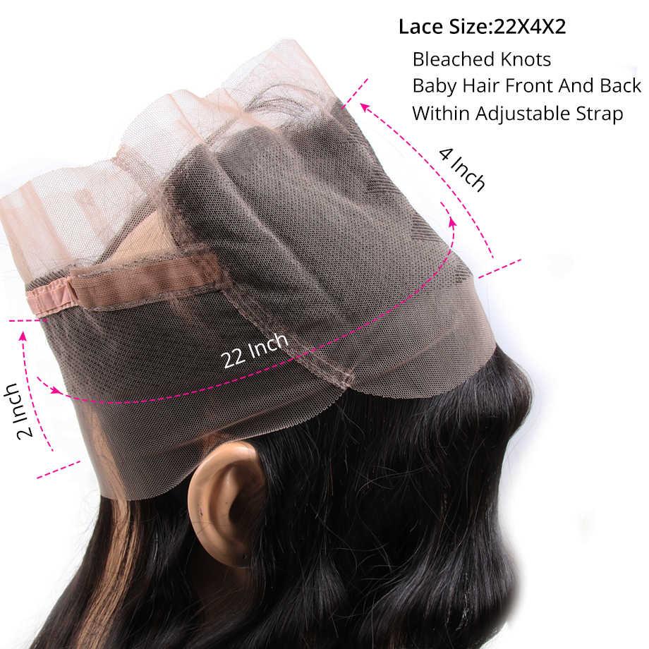 [Por] 360 frontal com pacotes brasileiro bodywave pacotes com fechamento frontal do cabelo humano fechamento do laço frontal com pacotes remy