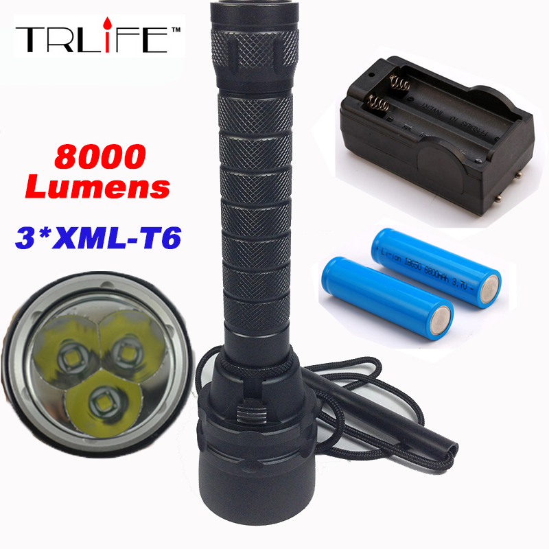 New 8000lm 200m Underwater Diving Flashlight Torch 3xCREE XML-T6 LED Waterproof Light Lamp dzrzvd floral printed high waist sexy bikinis women swimsuit bathing suits push up bikini set beach plus size flower swimwear