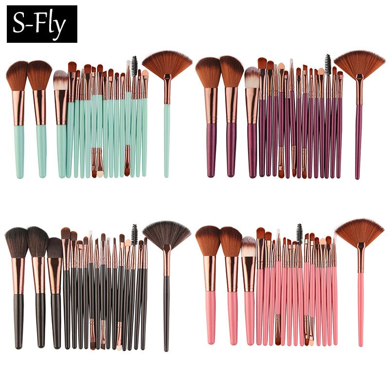 18pcs Foundation Cosmetic Makeup Brushes Tool  Powder Blush Eyeshadow Eyeliner Lip Blender Maquiagem Beauty Makeup Brush Set new 32 pcs makeup brush set powder foundation eyeshadow eyeliner lip cosmetic brushes kit beauty tools fm88