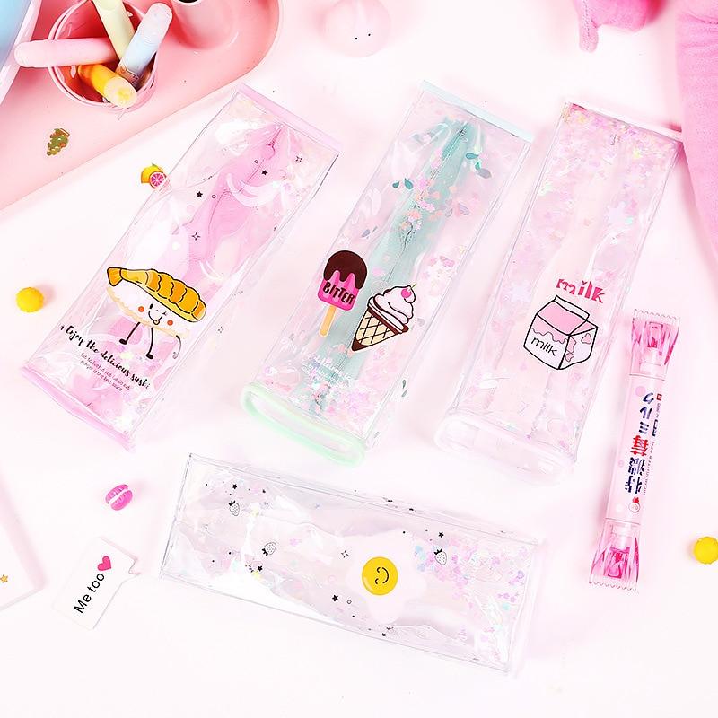Office & School Supplies Hand Gesture Lip Sequin Liquid Pen Pencil Case Student Zipper Bag Pouch Gift Pvc Big Clearance Sale