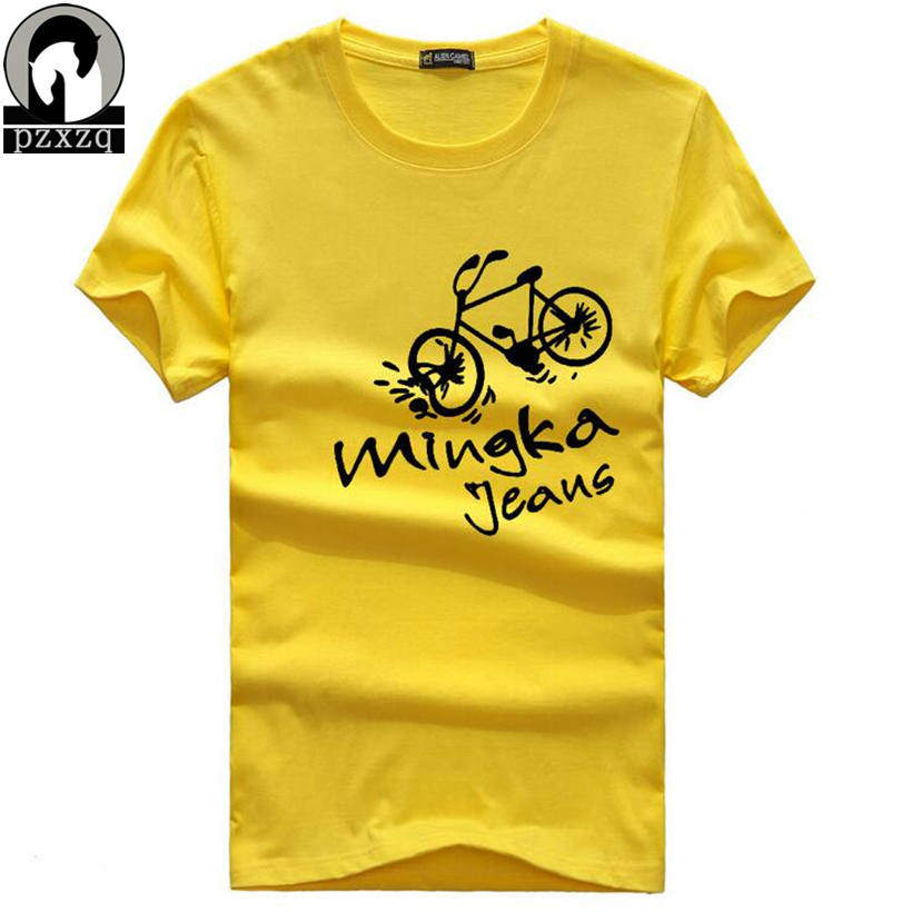 5 Colors Cool Funny Bicycle Letter Print T Shirt Men 2017