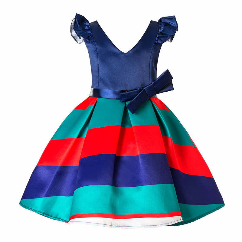 New Christmas Kids Party Wear Dresses For Girls Cotton V-Neck Children Prom Gown Princess Dress Baby Girl 4 5 6 8 9 Year baby girls white dresses for wedding and party wear girl princess dress kids lace clothes children costume age 3 4 5 6 7 8 9 10