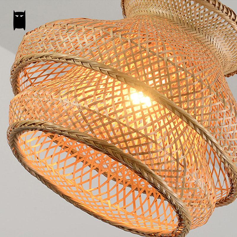 Bamboo wicker rattan shade chandelier light fixture japanese bamboo wicker rattan shade chandelier light fixture japanese vintage asian creative hanging ceiling lamp dining table study room in chandeliers from lights aloadofball Images