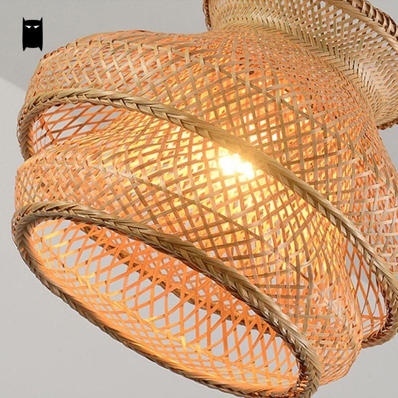 Bamboo Wicker Rattan Shade Chandelier Light Fixture Anese