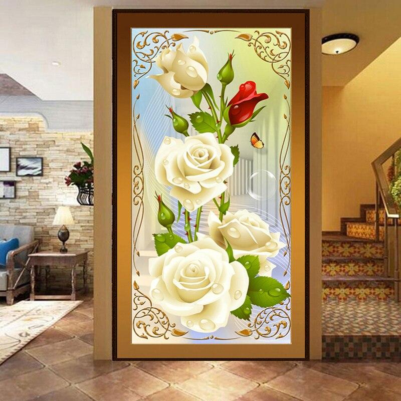 5D DIY Вышивка с кристаллами белые розы алмаз Вышивка цветок серия вертикальный принт Кубик Рубика дрель застрял дрель