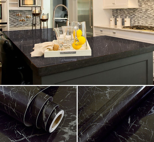 Black Marble Waterproof Vinyl Self Adhesive Wallpaper Sticker Modern - Contact paper for kitchen countertops