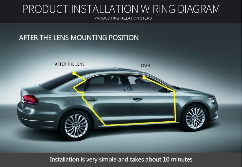 E-ACE Car Dvr Camera Led Lights Blue Rearview Mirror FHD 1080P Night Vision Video Recorder Dual Lens Auto Registrator Dash Cam 31