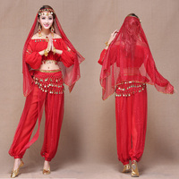 Women Indian Long Sleeve Performing Skirt Female Belly Dance Practice Set 2019 Dancing Performance Egypt Dance Costumes H4554