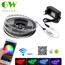RGB LED Strip 5050 DC 12V 5M Waterproof / Non Waterproof Neon Strip + Mini WiFi RGB Controller +12V 3A Power Supply