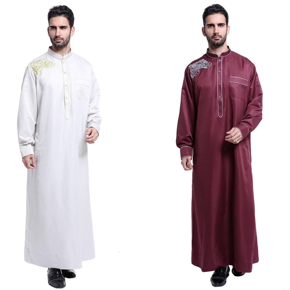 2019 Embroidery abaya for men Muslim robe islamic clothing stand collar turkish moroccan arab dubai abaya
