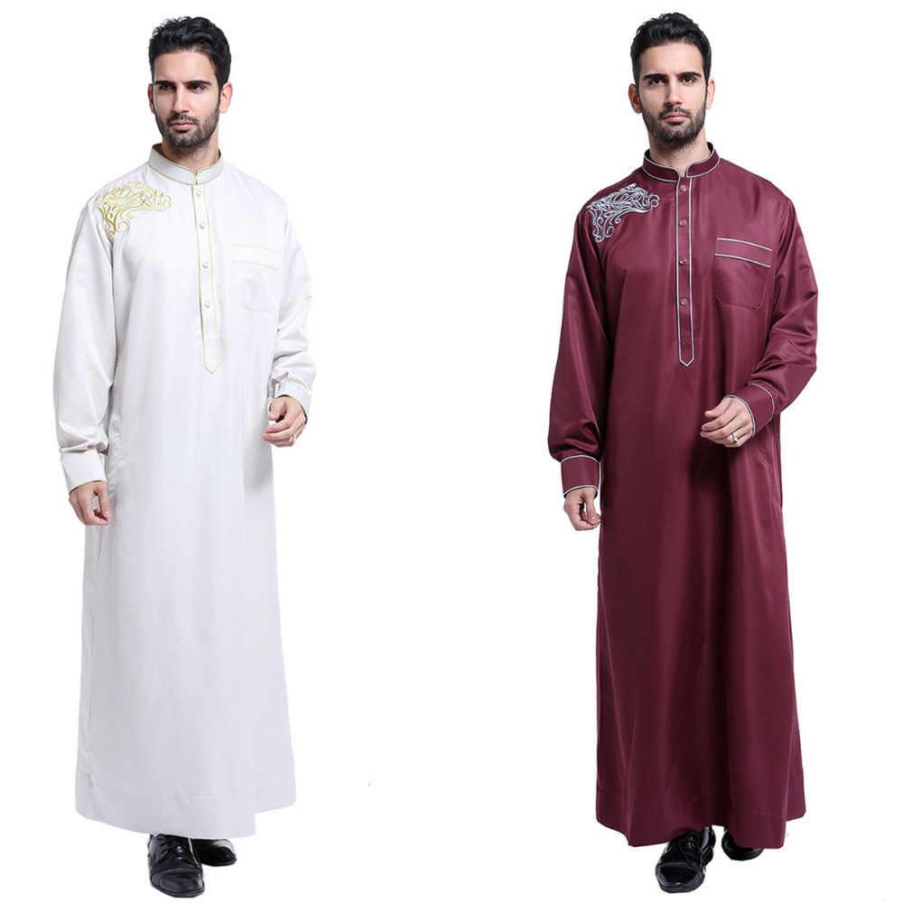 2019 刺繍男性イスラム教徒のローブイスラム服スタンド襟トルコ/モロッコ/アラブ/ドバイアバヤのドレスアラビア男性トーブ