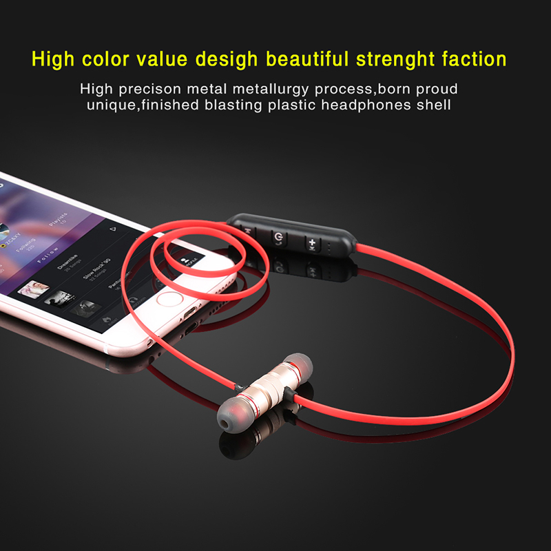 fone de ouvido Sport Wireless Bluetooth Earphones Metal Magnetic Stereo Super Bass Headsets Noise Reduce With Mic nfc dacom athlete bluetooth headsets wireless sport headsfree headphones stereo music earphones fone de ouvido with microphone