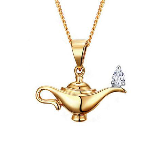 Awesome 925 Silver LAMP OF ALADDIN Necklace Girlfriend Gift Gold Aladdinu0027s Lamp  Charm Necklace Magic Lamp Genie