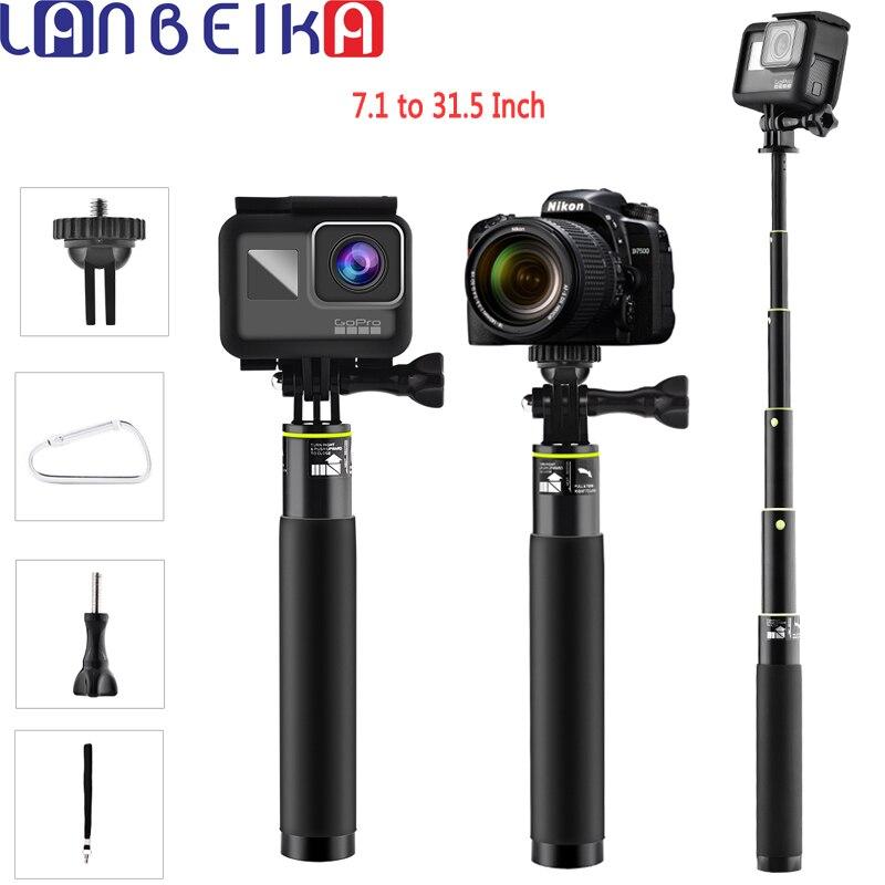 LANBEIKA 7,1 a 31,5 pulgadas, Selfie palo impermeable Monopod trípode portátil soporte para Gopro héroe 6 + 5 4 3 SJCAM SJ4000 SJ5000 SJ6